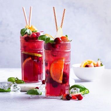 Cranberry Basil Sangria - Non-Alcoholic Mixed Drinks - Mocktail Recipes