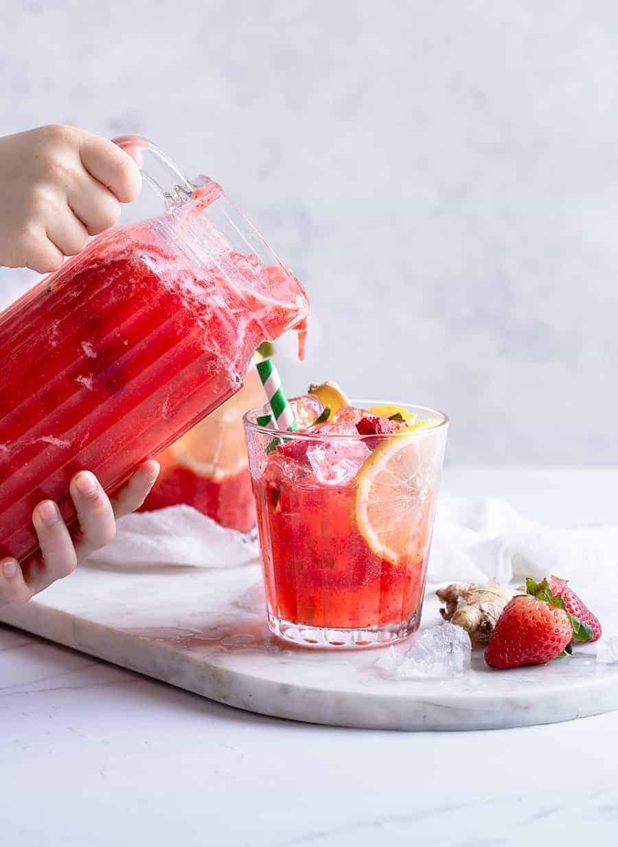 Strawberry Ginger Lemonade - Easy Drinks Recipes - Mocktail Recipes Online