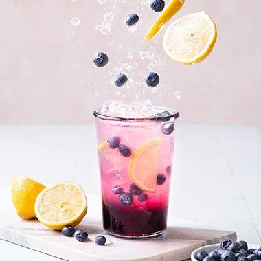 Homemade Blueberry Pink Lemonade
